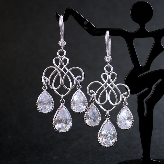 Wedding Jewelry Bridal Chandelier Earrings Silver Clear Cubic Zirconia Teardrop Earrings Wedding Earrings