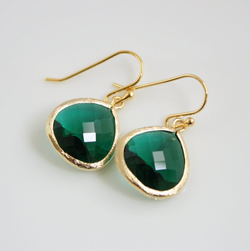 Gold Emerald Green Earrings Glass Emerald Jewelry