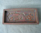 Small stoneware tray with Arts & Crafts rose design
