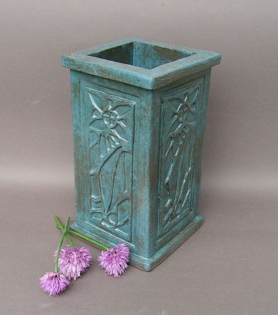 Large blue stoneware vase with Arts & Crafts floral design