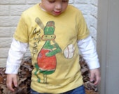 colorful baseball dragon drawing on youth size and baby t shirt or onesie