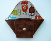 Envelope Wallet in Leather with Colorful Owls