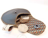 Leather Coin Pouch / Black Leather and Recycled Necktie Mini Gypsy Guys / Men's Coin Purse / Ready to Ship