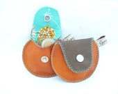 Coin Purse / The Mini Gypsy Change Purse / Orange and Brown Leather with Turquoise Cotton Lining Ready to Ship