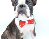 """Valentine Bow Tie / The """"BubbaBow"""" Tie for Happy Pets / Red with Embroidered Hearts and Leather Accent / Ready to Ship"""