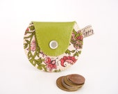 Leather Coin Purse / The Mini Gypsy Vintage / Avocado Green Leather and Flower Print Vintage Fabric / Ready to Ship