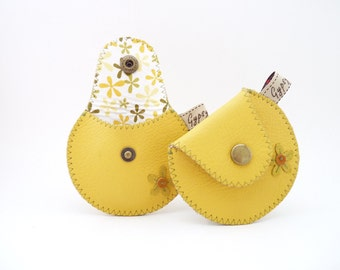 Spring Leather Coin Purse / The Mini Gypsy Change Purse / Yellow with Cute Flower Applique and Spring Print Cotton Lining / Made to Order
