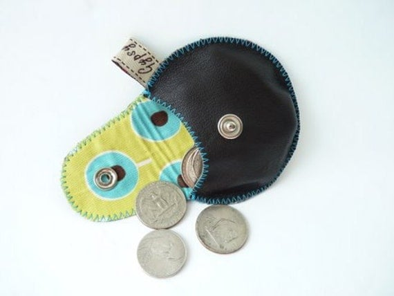 The Mini Gypsy Change Purse in Brown Leather and Lollipops Cotton Lining / Ready to Ship