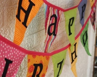 Reversible Fabric Happy Birthday Banner
