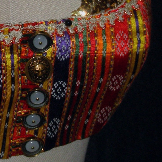 "Belly Dance Costume, Turkish Vest with Hand Crocheted Beaded Trim and Vintage Buttons, Tribal or Gypsy, ""Aegean Sunset"" (5)"