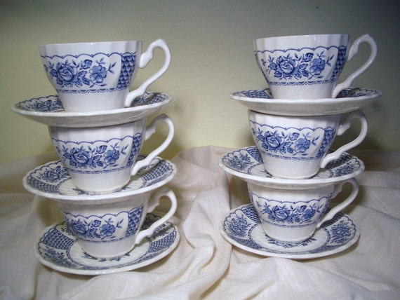 Blue & White Ironstone, Myott Melody, 6  Cups 6 Saucers