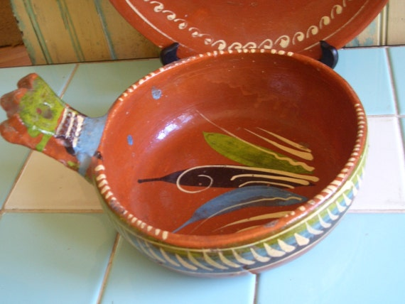 Vintage Mexican Pottery Serving Bowl Tlaquepaque