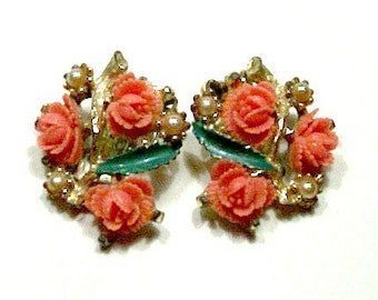 Vintage Celluloid Coral Rose Clip On Earrings1940's, Collectible,  Mid Centry, VisionsOfOlde