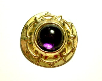 Vintage 1960's Victorian Revival Brooch, Edwardian Style, Purple Acrylic Cabochon, Gold Tone Brooch Pin, VisionsOfOlde