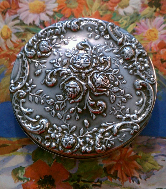 Vintage Compact Gorham Deco Roses Compact Sterling 325 Silver 1930's
