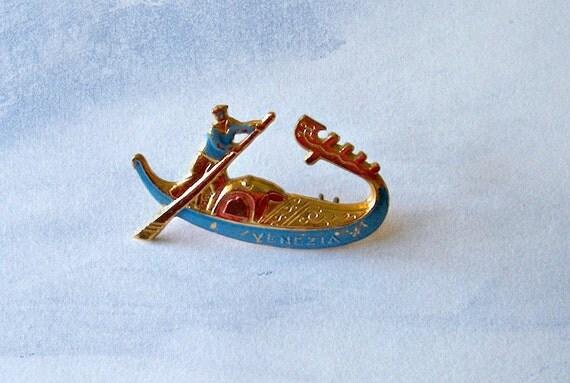 Vintage  Italy Venice Figural Gondola Pin Brooch Signed Venezia