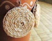 Eco friendly Hemp Earrings with Spiral Pattern - White