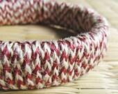 Boho jewelry - Rustic jewelry - Hemp bracelet -  Eco friendly Bangle - Boho, Rustic, Hemp, Eco friendly - Wine red, cherry, brown, beige