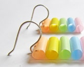 Pastel earrings - Avant Garde jewelry - Lightweight earrings - Pastel, avant garde, Beach, candy pink, blue, green, yellow, peach, white