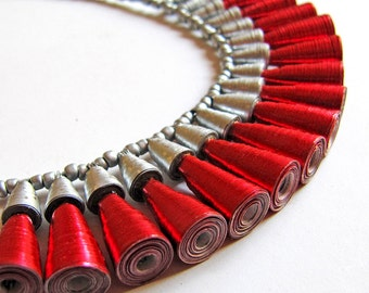 Dazzling Love Necklace for her - Red and silver necklace - One year anniversary gift for wife