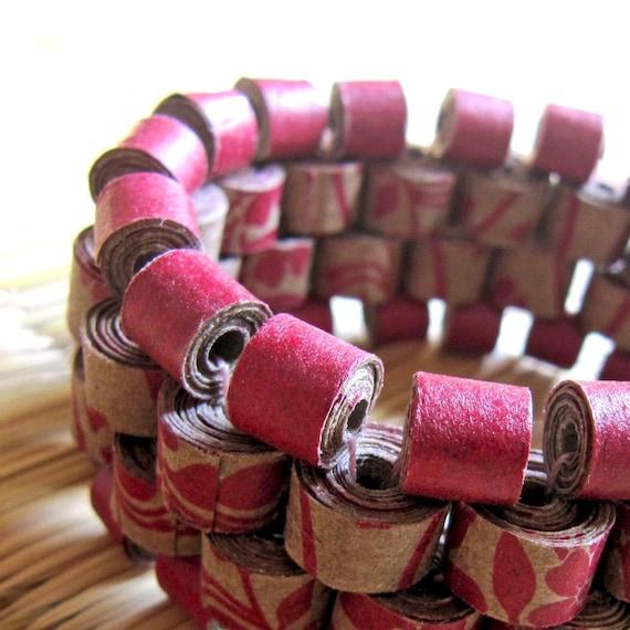 Floral Peyote Bracelet - First anniversary gift - Recycled jewelry - Paper Bracelet - Chunky bracelet - Bold jewelry - Beaded Bracelet