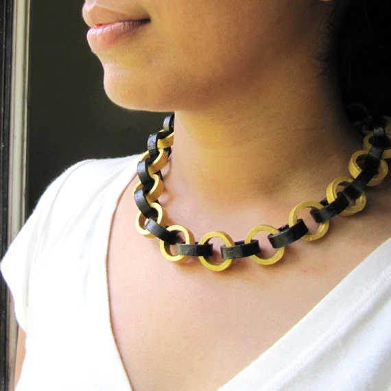 Black and Gold Necklace - First anniversary gift - Paper jewelry - Big bold chunky necklace - Statement jewelry - Unique necklace