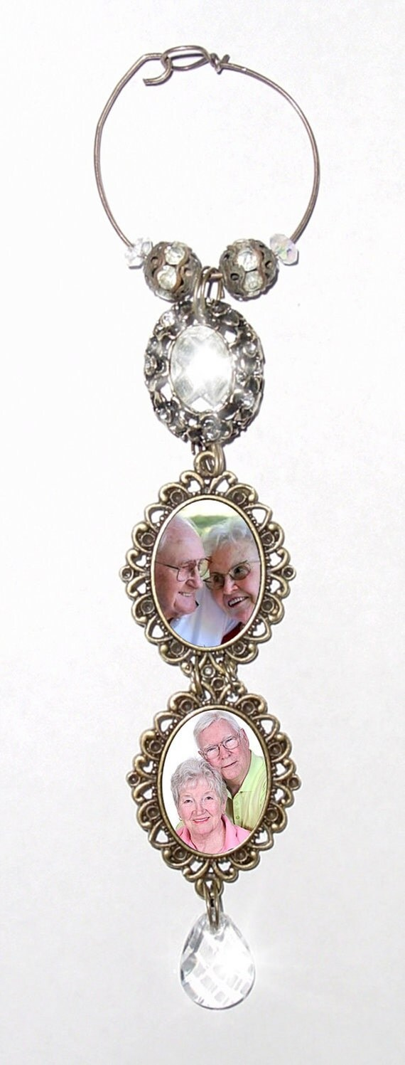 double wedding bouquet memorial photo charm antiqued bronze oval metal