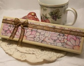 Pink and Brown Gift Box /Jewelry Box with Floral Art and White Ribbon