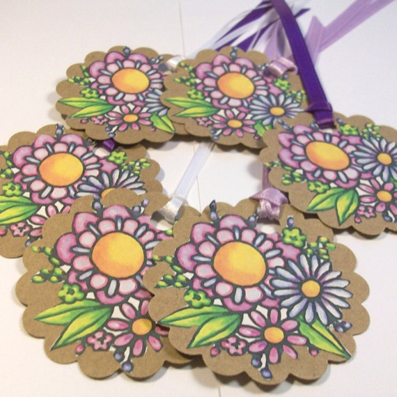 Round Gift Tags with Purple Flowers and Ribbon- WITH LOVE embossed on back- set of 5