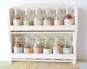 Mini Bottle Storage Rack Home  Map covered Cream Shabby Chic Buttons Spices