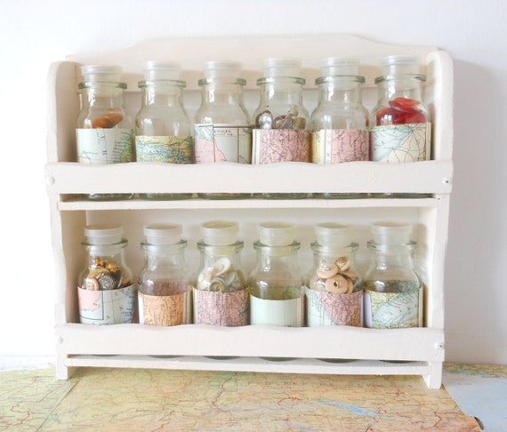 Mini bottle storage rack home map covered by - Mobili da bagno shabby chic ...