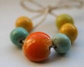 Reserved for Jenn J  Summer Sorbet Glass Enameled Ceramic Beads