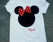 CUSTOM Minnie Mouse Applique shirt RED or PINK