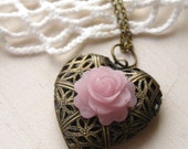 in the garden necklace, working basket heart locket charm necklace, romantic dangle necklace, pink rose, antique brass, cute jewelry gift