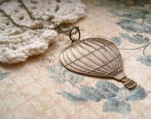 around the world necklace, hot air balloon stamping charm necklace, dangle travel necklace, antique brass, cute jewelry gift idea