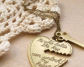 you hold the key to my heart necklace, love charm necklace, dangle necklace, words, tiny key, antique brass, cute valentines jewelry gift
