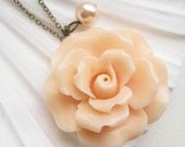 ruffled rose necklace, large peach pink flower charm necklace, dangle necklace, romantic garden pendant, antique brass, cute jewelry gift