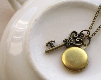 keepsake necklace, victorian key charm necklace, old fashioned dangle necklace, tiny round locket, antique brass, cute jewelry gift idea