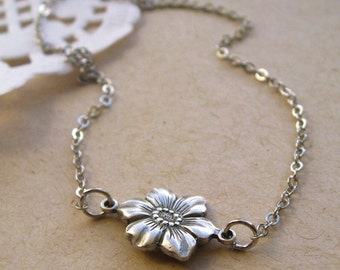 a single flower necklace, tiny daisy rose charm necklace, dangle necklace, woodland animal pendant, antique silver brass, cute gift idea