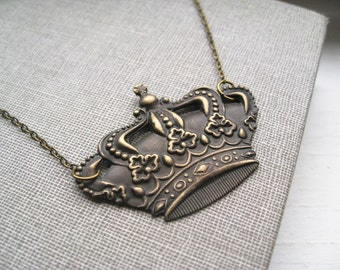 royal blood necklace, ornate crown charm necklace, dangle necklace, victorian royal pendant, antique brass, cute jewelry gift