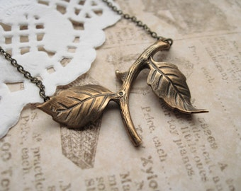 swinger of birches necklace, leaf tree branch stamping charm necklace, woodland forest pendant, antique brass, cute jewelry gift idea