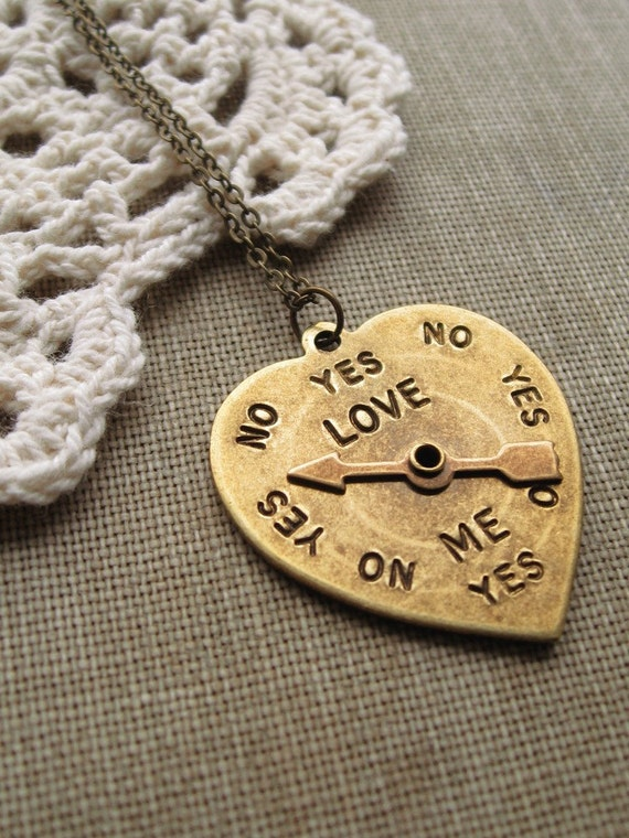 love me. necklace, spinner heart charm necklace, dangle necklace, valentines day love pendant, antique brass, cute jewelry gift idea