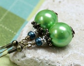 Green and Blue Glass Bead Earrings - CLEARANCE SALE - A.1710