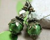 Green Pearl Glass Bead Earrings - CLEARANCE SALE - A.794