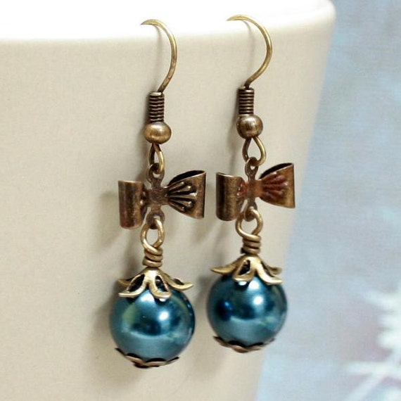 Blue Pearl Glass Bead Earrings - CLEARANCE SALE - A.1007
