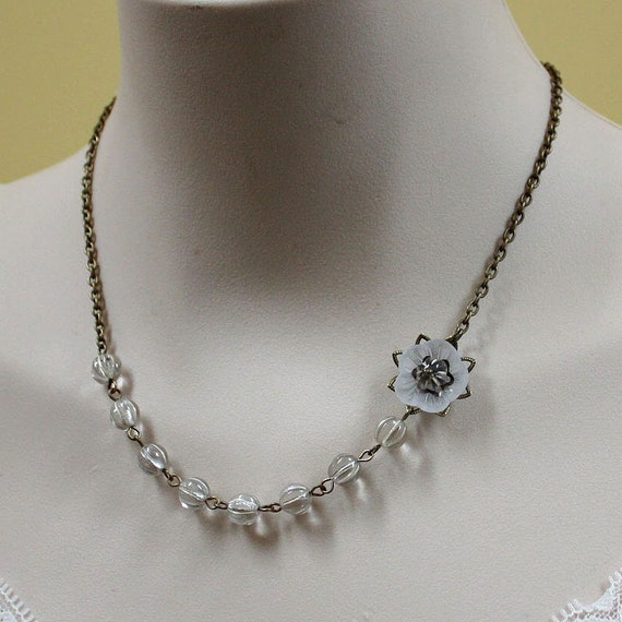 items similar to clear silver glass bead necklace