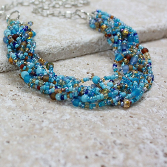 Turquoise, Brown, and Golden Seed Bead Necklace - CLEARANCE SALE - C.161
