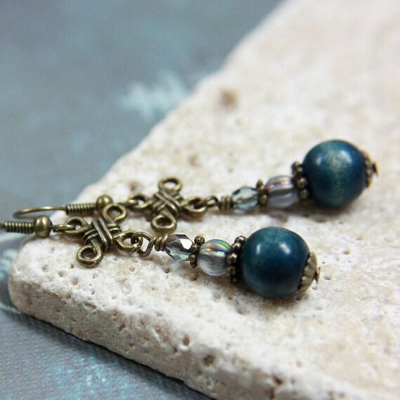 Blue Wooden Bead Earrings - A.820