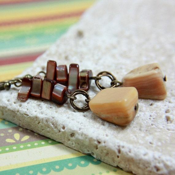 Beige Agate Stone Bead Earrings - CLEARANCE SALE - A.839