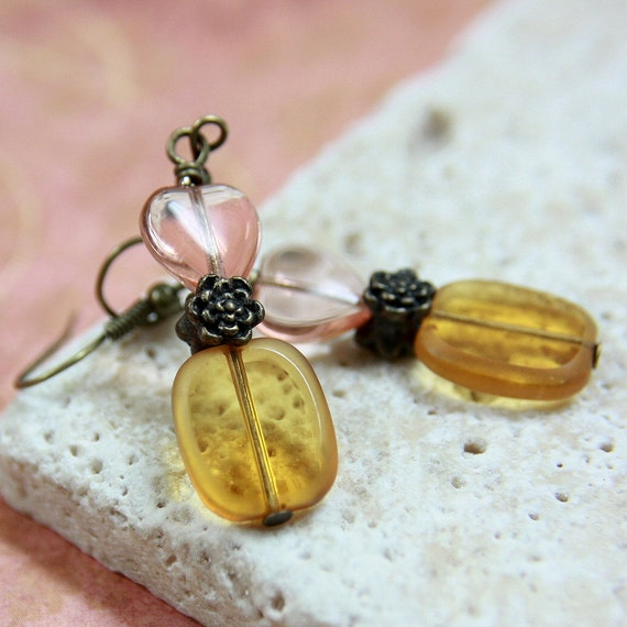 Pink/Golden Glass Bead Earrings - CLEARANCE SALE - A.746